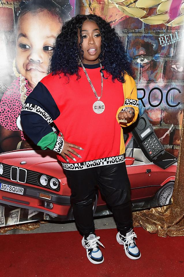 """Missy brought the """"ICONIC"""" necklace back when she stopped by the Junie Bee nail salon grand opening party in 2018, pairing it with an oversized sweatshirt, leather pants, sneakers, and some killer nail art."""