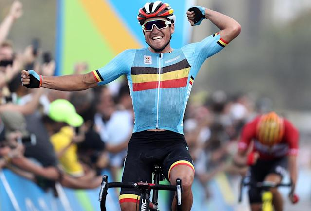 <p>Greg Van Avermaet of Belgium celebrates winning the gold medal in the men's cycling road race on August 6, 2016. (Reuters/Bryn Lennon/Pool) </p>