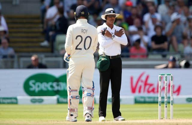 Joel Wilson (right) has his lbw decision on England captain Joe Root overturned during day five of the first Ashes Test (Nick Potts/PA)