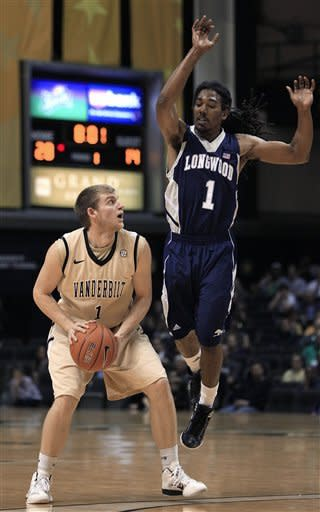 Longwood guard Jeremiah Bowman, right, defends against Vanderbilt guard Brad Tinsley, left, in the first half of an NCAA college basketball game on Monday, Dec. 19, 2011, in Nashville, Tenn. (AP Photo/Mark Humphrey)