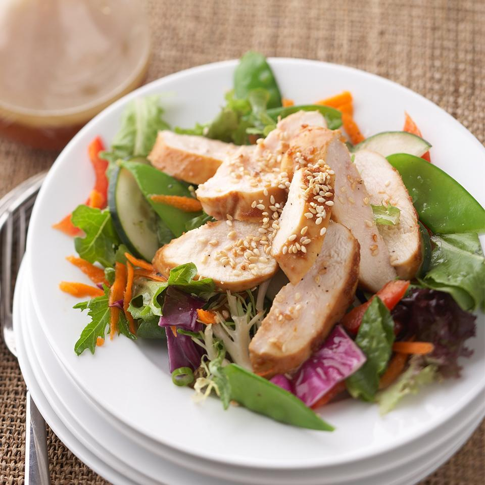 "<p>This Asian-inspired chicken salad has a tangy soy-ginger flavor which is complemented by the sweet pineapple-sesame dressing. Ready in just 35 minutes, this recipe is perfect for a busy weeknight dinner or a weekend lunch with friends. <a href=""http://www.eatingwell.com/recipe/268884/asian-inspired-chicken-salad/"" rel=""nofollow noopener"" target=""_blank"" data-ylk=""slk:View recipe"" class=""link rapid-noclick-resp""> View recipe </a></p>"