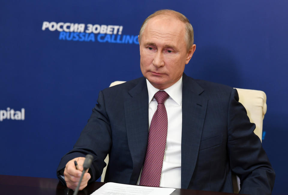 "FILE - Russian President Vladimir Putin attends an annual VTB Capital ""Russia Calling!"" Investment Forum via video conference at the Novo-Ogaryovo residence outside Moscow, Russia. Russian state interference has been minimal so far in the most tempestuous U.S. presidential election in decades. But that doesn't mean the Kremlin can't inflict serious damage, and the continued vulnerability of state and local government networks is a big worry. (Alexei Nikolsky, Sputnik, Kremlin Pool Photo via AP, File)"