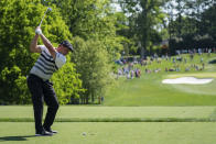 Bryson DeChambeau tees off on the 13th hole during the third round of the Wells Fargo Championship golf tournament at Quail Hollow, Saturday, May 8, 2021, in Charlotte, N.C. (AP Photo/Jacob Kupferman)