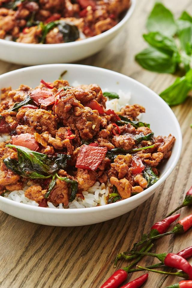 "<p>Acquaint yourself with Thai Basil by making this super flavorful dish.</p><p>Get the recipe from <a href=""https://www.delish.com/cooking/recipe-ideas/a30520687/thai-basil-chicken-recipe/"" target=""_blank"">Delish.</a></p>"