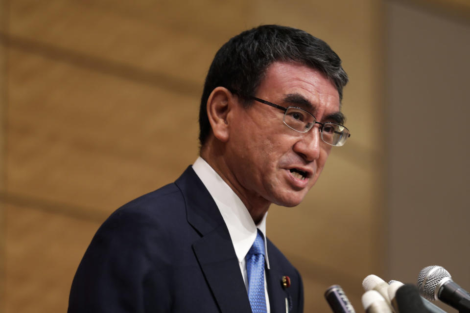 Taro Kono, the Cabinet minister in charge of vaccinations, speaks during a news conference as he formally announces he's running for the leader of the Liberal Democratic Party in Tokyo, Friday, Sept. 10, 2021. The Liberal Democrats and their coalition partner have a majority in parliament, meaning whoever wins the Sept. 29 party vote is virtually guaranteed to become the new prime minister. Current Prime Minister Yoshihide Suga has said he won't run for the leadership of the governing party. (AP Photo/Hiro Komae)