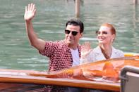 <p><em>Scenes from a Marriage </em>costars Oscar Isaac and Chastain waved as they arrived by water taxi on Sept. 4. </p>