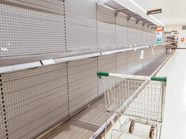 Empty shelves in an Australian supermarket after panic buying due to the coronavirus in Melbourne.