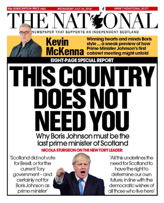 Not mincing words, independent Scotland-supporting the National declared: 'This country does now need you' and says Mr Johnson must be 'the last prime minister of Scotland'. (Twitter)