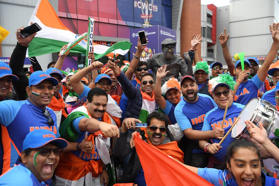 India fans arrive before India v Pakistan at Old Trafford (Photo by Stu Forster-IDI/IDI via Getty Images)
