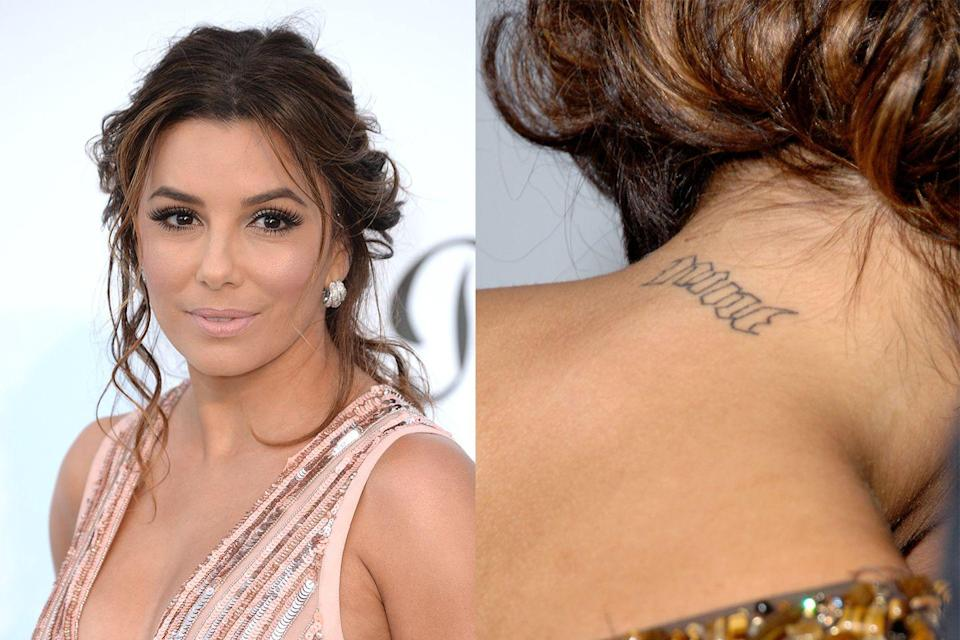 """<p>Eva Longoria is another celebrity who had an unwanted tattoo on her neck—only her's wasn't spelled wrong. The actress-slash-producer-businesswoman had her ex-husband, <a href=""""https://www.huffingtonpost.com/2012/10/23/eva-longoria-tony-parker_n_2006007.html"""" rel=""""nofollow noopener"""" target=""""_blank"""" data-ylk=""""slk:Tony Parker's basketball number"""" class=""""link rapid-noclick-resp"""">Tony Parker's basketball number</a>, """"nine,"""" tattooed on the nape of her neck. She had it removed two years after their divorce was finalized. </p>"""