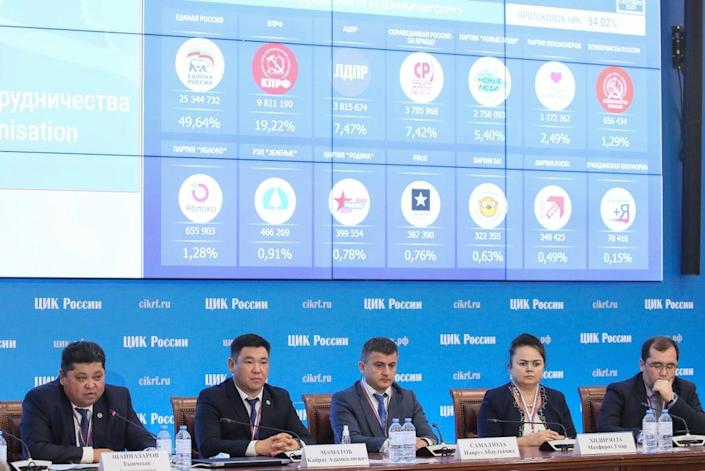 Members of the SCO election observation mission attend a session at the Information centre of the Russian Central Election Commission (Vladimir Gerdo/Tass)