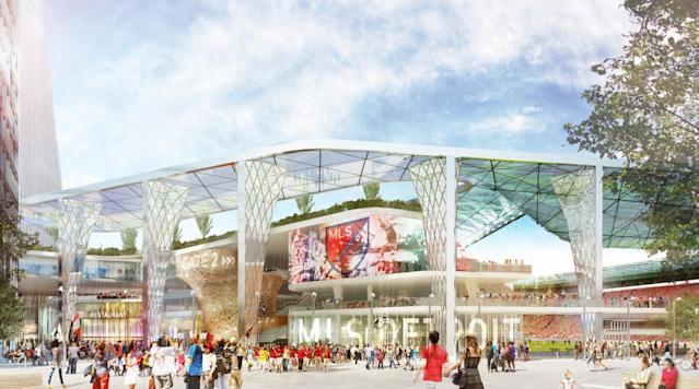 <p>A group led by NBA owners Dan Gilbert and Tom Gores is aiming to bring MLS to Detroit with this downtown venue.</p>