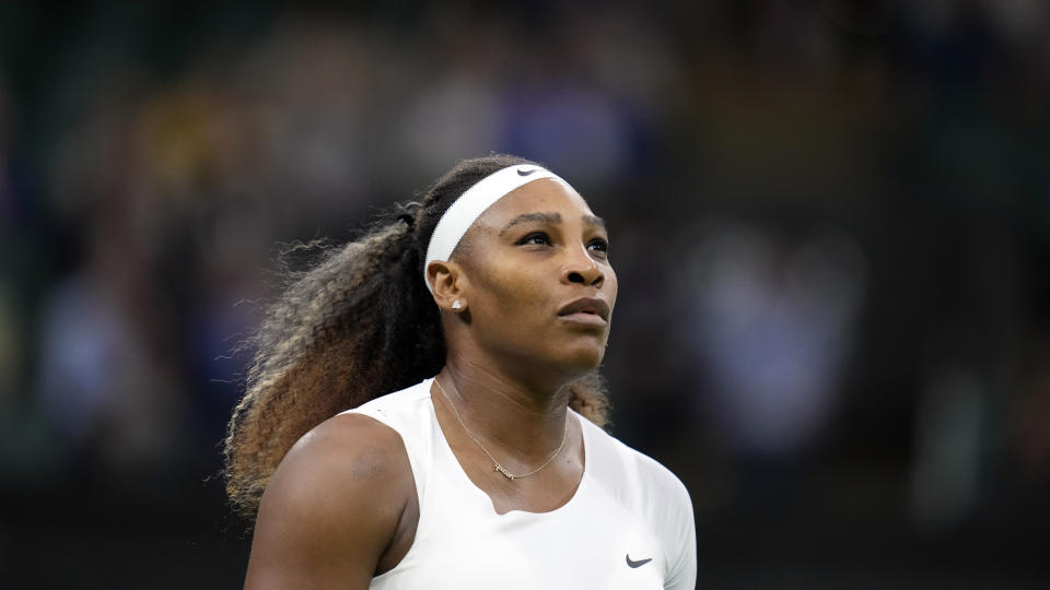 FILE - Serena Williams of the US plays Aliaksandra Sasnovich of Belarus for the women's singles first round match on day two of the Wimbledon Tennis Championships in London, Tuesday June 29, 2021. Williams added herself to the list of big-name withdrawals from the U.S. Open on Wednesday, Aug. 25, 2021 pulling out of the year's last Grand Slam tournament because of a torn hamstring. (AP Photo/Kirsty Wigglesworth, file)