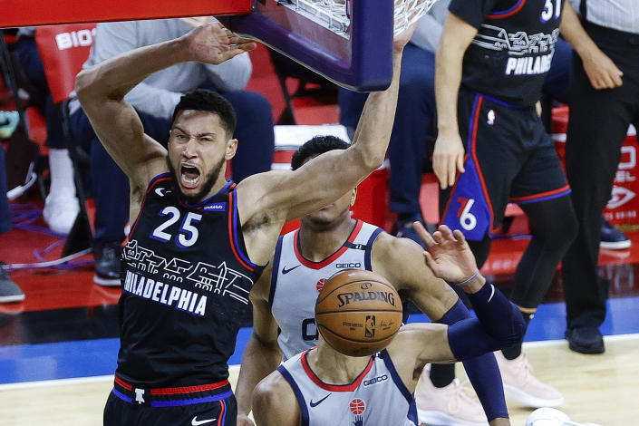 Philadelphia 76ers star Ben Simmons dominated the Washington Wizards in Game 2 of their first-round series.  (Tim Nwachukwu/Getty Images)