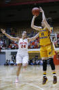 Central Michigan guard Cassie Breen, right, goes up for a shot against Ohio State forward Makayla Waterman during the first half of a second-round game in the NCAA women's college basketball tournament in Columbus, Ohio, Monday, March 19, 2018. (AP Photo/Paul Vernon)