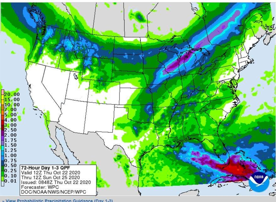 Rainfall forecast Thursday through Sunday 8 a.m.