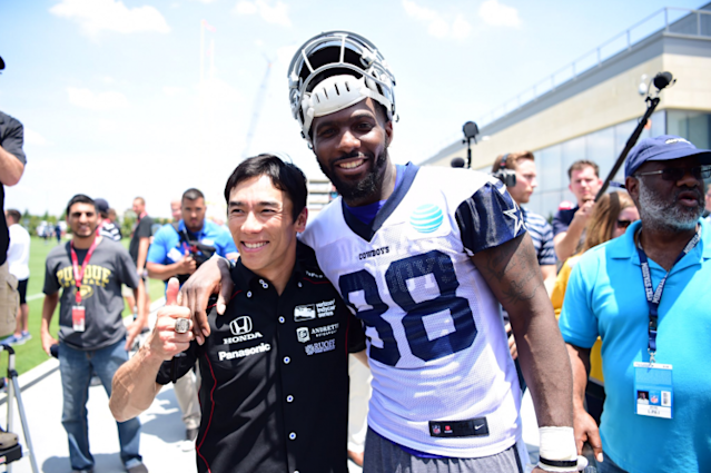 "Takuma Sato and <a class=""link rapid-noclick-resp"" href=""/nfl/players/23999/"" data-ylk=""slk:Dez Bryant"">Dez Bryant</a>. (Courtesy <a class=""link rapid-noclick-resp"" href=""/nfl/teams/dal/"" data-ylk=""slk:Dallas Cowboys"">Dallas Cowboys</a>)"