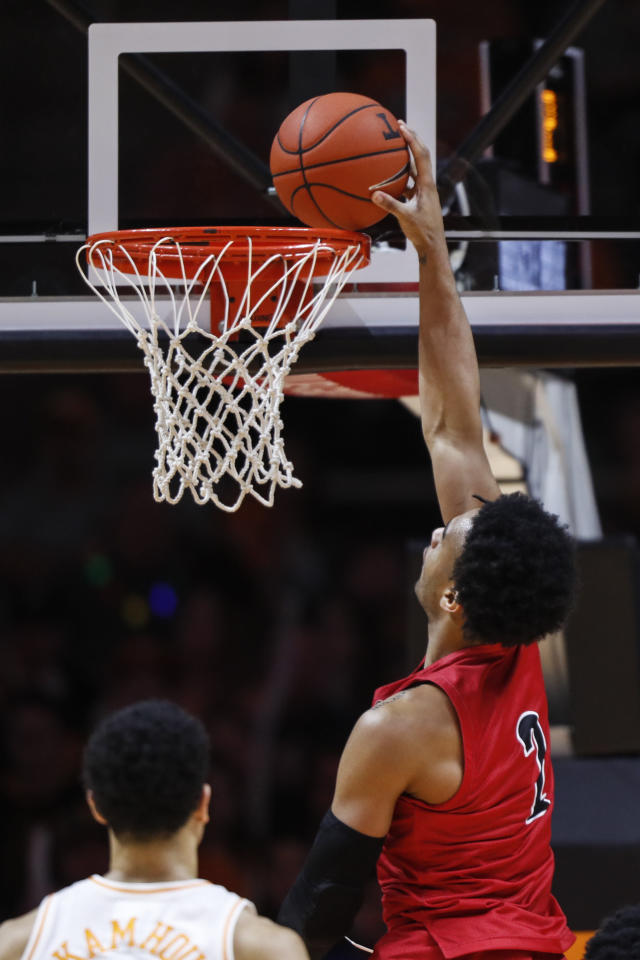 Jacksonville State forward Jacara Cross (2) dunks the ball during the first half of an NCAA college basketball game against Tennessee, Saturday, Dec. 21, 2019, in Knoxville, Tenn. (AP Photo/Wade Payne)