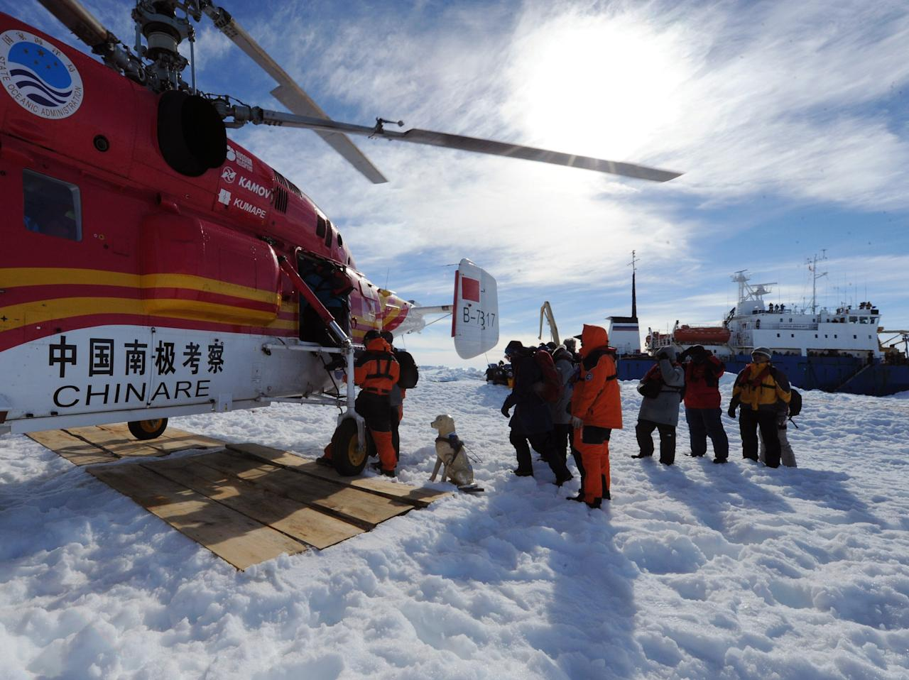 In this photo provided China's official Xinhnua News Agency, passengers from the trapped Russian vessel MV Akademik Shokalskiy, seen at right, prepare to board the Chinese helicopter Xueying 12 in the Antarctic Thursday, Jan. 2, 2014. A helicopter rescued all 52 passengers from the research ship that has been trapped in Antarctic ice, 1,500 nautical miles south of Hobart, Australia, since Christmas Eve after weather conditions finally cleared enough for the operation Thursday. (AP Photo/Xinhua, Zhang Jiansong) NO SALES