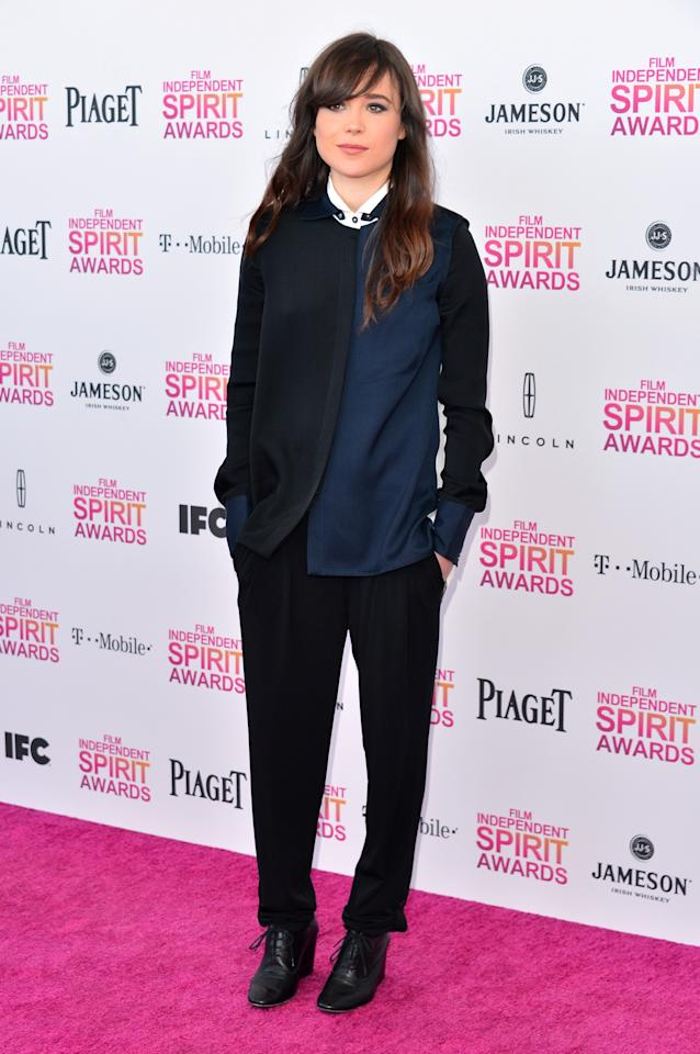 SANTA MONICA, CA - FEBRUARY 23:  Actress Ellen Page attends the 2013 Film Independent Spirit Awards at Santa Monica Beach on February 23, 2013 in Santa Monica, California.  (Photo by Alberto E. Rodriguez/Getty Images)