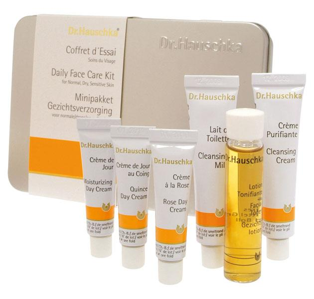 """Dr. Hauschka Daily Face Care Kit, £17.96, <a target=""""_blank"""" href=""""http://www.drhauschka.co.uk/products/face-care/daily-face-care-kit"""">Dr. Hauschka</a><br><br>This 6-piece set is a great intro to Dr. Hauschka's skincare line and also makes a great travel kit, according to Fiona Klonarides, Editor of the <a target=""""_blank"""" href=""""http://www.thebeautyshortlist.com/"""">Beauty Shortlist</a>. She also told us that 1,075 rose petals go into one 30ml tube of their iconic skin-balancing Rose Day Crème!"""