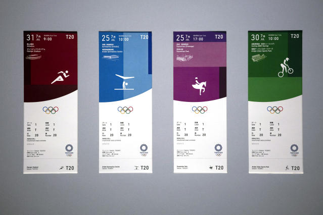Tickets for the Tokyo 2020 Olympics are on display Wednesday, Jan. 15, 2020, in Tokyo. (AP Photo/Jae C. Hong)