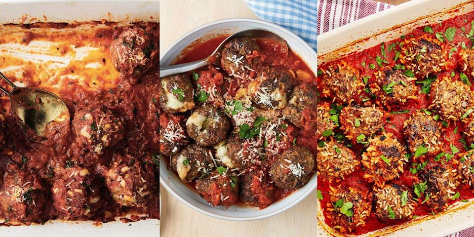 """<p>When it comes to meatballs, we love 'em ALL. Whether it's <a href=""""https://www.delish.com/uk/cooking/recipes/a29185626/italian-meatball-recipe/"""" rel=""""nofollow noopener"""" target=""""_blank"""" data-ylk=""""slk:Classic Italian Meatballs"""" class=""""link rapid-noclick-resp"""">Classic Italian Meatballs</a>, <a href=""""https://www.delish.com/uk/cooking/recipes/a30789786/french-onion-chicken-meatballs-recipe/"""" rel=""""nofollow noopener"""" target=""""_blank"""" data-ylk=""""slk:French Onion Chicken Meatballs"""" class=""""link rapid-noclick-resp"""">French Onion Chicken Meatballs</a> or even <a href=""""https://www.delish.com/uk/cooking/recipes/a35761566/air-fryer-meatballs-recipe/"""" rel=""""nofollow noopener"""" target=""""_blank"""" data-ylk=""""slk:Air Fryer Mozzarella-Stuffed Meatballs"""" class=""""link rapid-noclick-resp"""">Air Fryer Mozzarella-Stuffed Meatballs</a> (a-huh, totally a thing), there's not a single meatball variation we wouldn't want to give a go. Not to mention, they're easy to make and super versatile when it comes to mealtimes. You can pair them with anything from pasta, to noodles to veg, and you're guaranteed a delicious dinner (our <a href=""""https://www.delish.com/uk/cooking/recipes/a34119680/asian-glazed-meatballs-with-peanut-noodles-recipe/"""" rel=""""nofollow noopener"""" target=""""_blank"""" data-ylk=""""slk:Asian Glazed Meatballs with Peanut Noodles"""" class=""""link rapid-noclick-resp"""">Asian Glazed Meatballs with Peanut Noodles</a> are I.N.S.A.N.E). And so, if you're looking for a bunch of easy meatball recipes, we've got your back! </p>"""