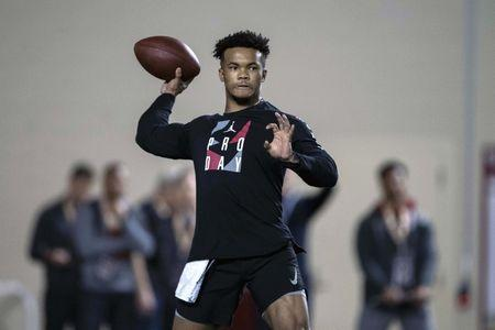 FILE PHOTO: Mar 13, 2019; Norman, OK, USA; Oklahoma quarterback Kyler Murray participates in positional workouts during pro day at the Everest Indoor Training Center at the University of Oklahoma. Mandatory Credit: Jerome Miron-USA TODAY Sports