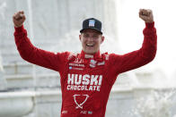 Marcus Ericsson, of Sweden, celebrates winning the first race of the IndyCar Detroit Grand Prix auto racing doubleheader on Belle Isle in Detroit, Saturday, June 12, 2021. (AP Photo/Paul Sancya)