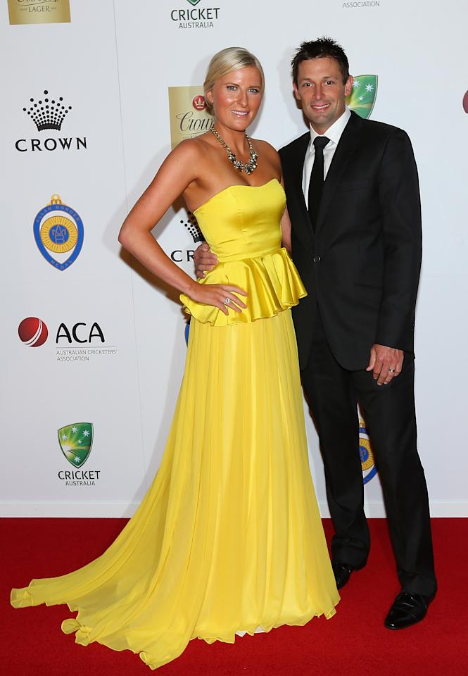 MELBOURNE, AUSTRALIA - FEBRUARY 04:  Ben Hilfenhaus of Australia and his wife Meredith Hilfenhaus arrive at the 2013 Allan Border Medal awards ceremony at Crown Palladium on February 4, 2013 in Melbourne, Australia.  (Photo by Quinn Rooney/Getty Images)