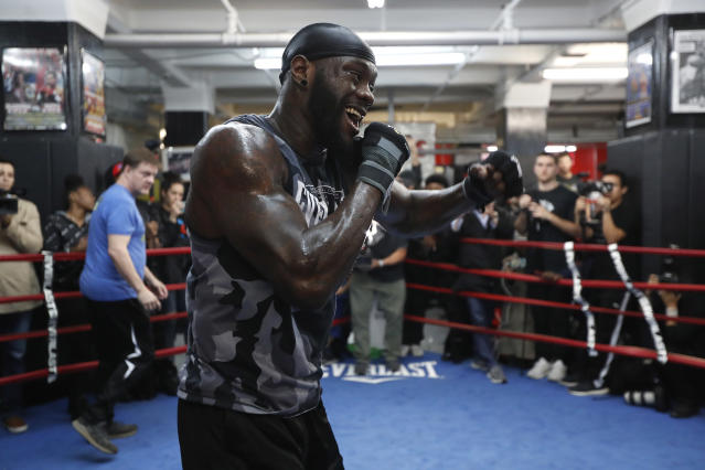 NEW YORK, NEW YORK - MAY 14: Deontay Wilder during a media work out at Gleason's Gym on May 14, 2019 in New York City. (Photo by Michael Owens/Getty Images)