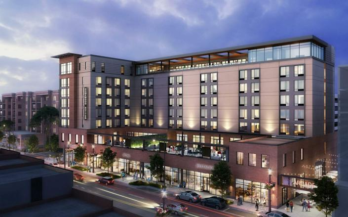 A rendering shows the pedestrian arcade planned for the east side of the Homewood Suites by Hilton planned at 4930 Oakton St. (via Village of Skokie)