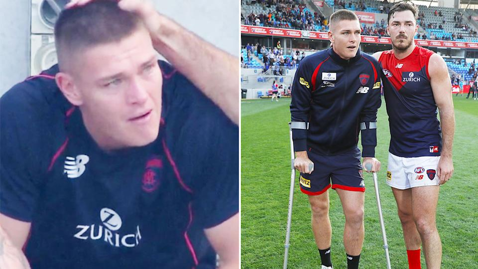 Pictured here, Adam Tomlinson was in tears after suffering the serious knee injury.