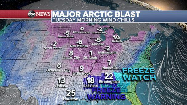 PHOTO: Tuesday morning wind chill. (ABC News)