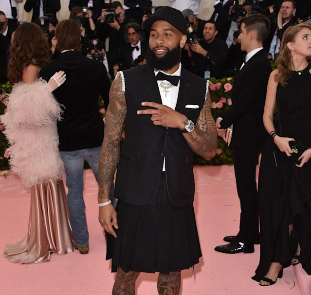 Odell Beckham had an interesting outfit at the Met Gala. (Photo by John Shearer/Getty Images for THR)