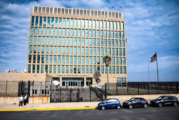 View of the United States Embassy in Havana on May 20, 2021. - The United States Embassy in Havana began Wednesday a process of interviews with Cuban baseball players who will attend the Tokyo Olympic Games qualifier tournament to be held in Florida between May 31st and June 5th. (Photo by YAMIL LAGE / AFP) (Photo by YAMIL LAGE/AFP via Getty Images)