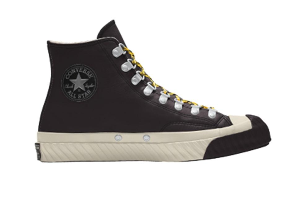 """$120, Converse. <a href=""""https://www.converse.com/shop/p/custom-bosey-water-repellent-chuck-70-by-you-unisex-high-top-shoe/168161CHO20_black.html?pid=168161CHO20&dwvar_168161CHO20_color=black&styleNo=168161C&pdp=true&cgid=sale"""" rel=""""nofollow noopener"""" target=""""_blank"""" data-ylk=""""slk:Get it now!"""" class=""""link rapid-noclick-resp"""">Get it now!</a>"""