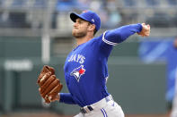 Toronto Blue Jays starting pitcher Steven Matz throws during the first inning in the first baseball game of a doubleheader against the Kansas City Royals Saturday, April 17, 2021, in Kansas City, Mo. (AP Photo/Charlie Riedel)