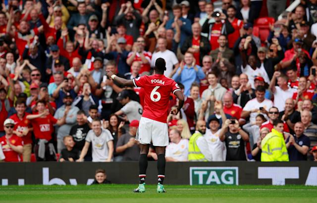 Manchester United's Paul Pogba celebrates scoring their fourth goal