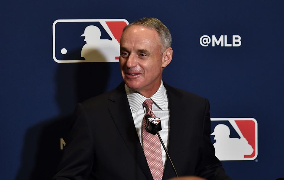 Feb 17, 2019; West Palm Beach, FL, USA; MLB commissioner Rob Manfred addresses representatives from the grapefruit league during the annual spring training media day at Hilton in West Palm Beach. Mandatory Credit: Steve Mitchell-USA TODAY Sports