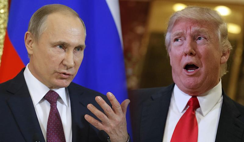 Vladimir Putin and Donald Trump. (Photo illustration: Yahoo News, photos: Sergei Ilnitsky/Pool Photo via AP, Evan Vucci/AP )