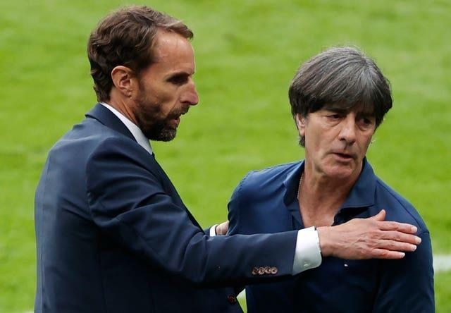 England manager Gareth Southgate, left, with Germany counterpart Joachim Low