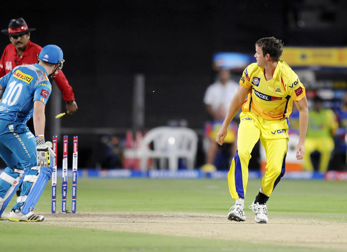 Albie Morkel of Chennai Super Kings gets Luke Wright of Pune Warriors run out during match 42 of the Pepsi Indian Premier League ( IPL) 2013  between The Pune Warriors India and the Chennai Superkings held at the Subrata Roy Sahara Stadium, Pune on the 30th April  2013. (BCCI)