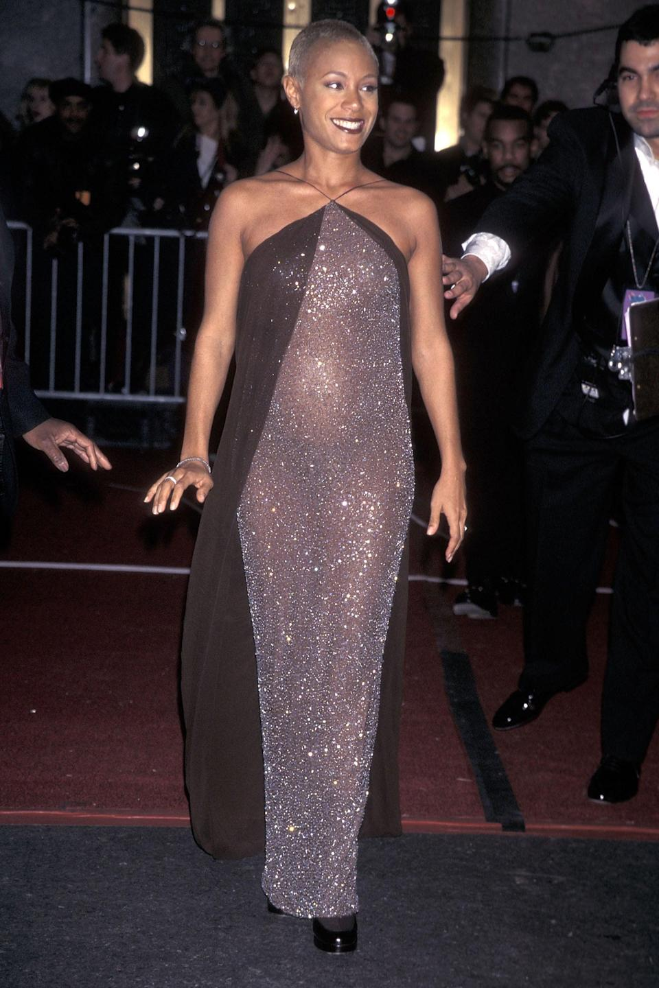 """<h2>Jada Pinkett Smith, 1998</h2><br>It's no wonder Jaden Smith is such a style star today. Just look at this naked dress his mom wore to the Grammys while she was pregnant with him. <span class=""""copyright"""">Photo: Ron Galella, Ltd./Ron Galella Collection/Getty Images.</span>"""