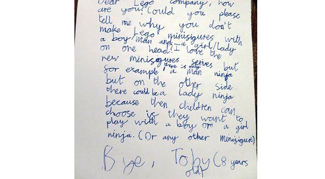 This letter was penned by Toby when he wanted the answer to a very specific question about Lego. Source: Facebook.