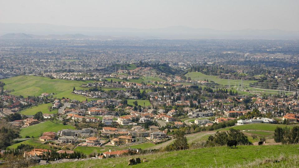 Fremont California aerial view from hills
