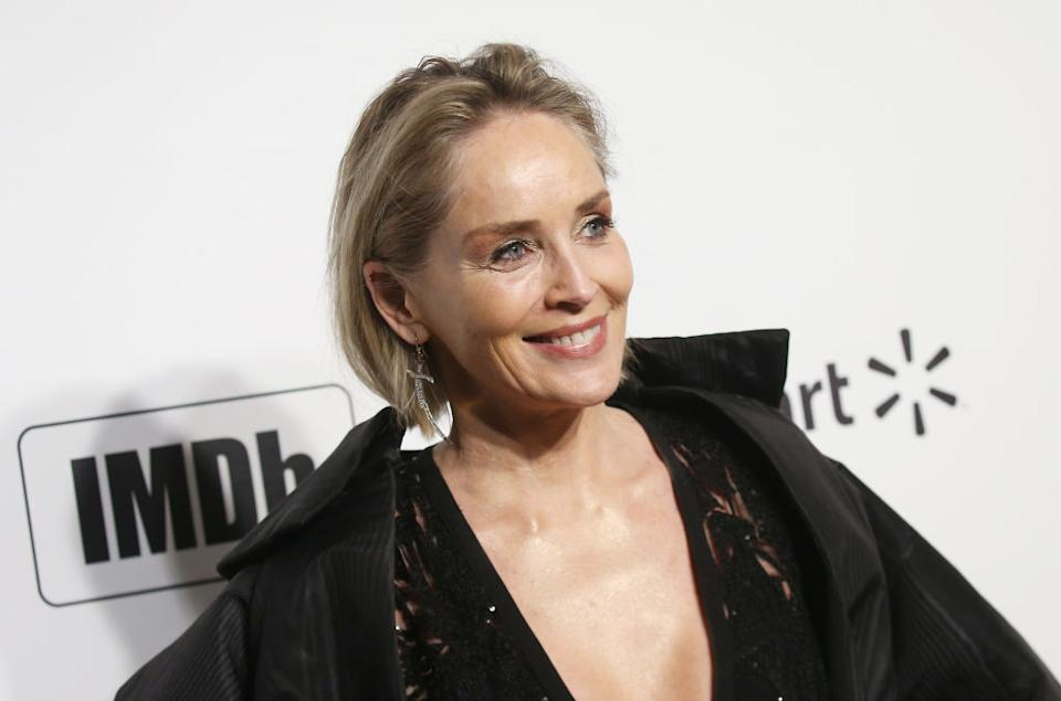 Sharon Stone has shared a selfie from her hospital bed to raise as she gets a mammogram, pictured here in February 2020. (Getty Images)