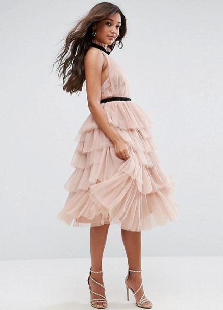 "The tulle in this dress is giving us all the fall princess vibes. Get it at <a href=""http://us.asos.com/asos/asos-premium-high-neck-tiered-tulle-midi-prom-dress/prd/8402868?clr=mink&SearchQuery=&cid=8799&pgesize=36&pge=1&totalstyles=1855&gridsize=3&gridrow=3&gridcolumn=2"" target=""_blank"">ASOS for $92</a>."