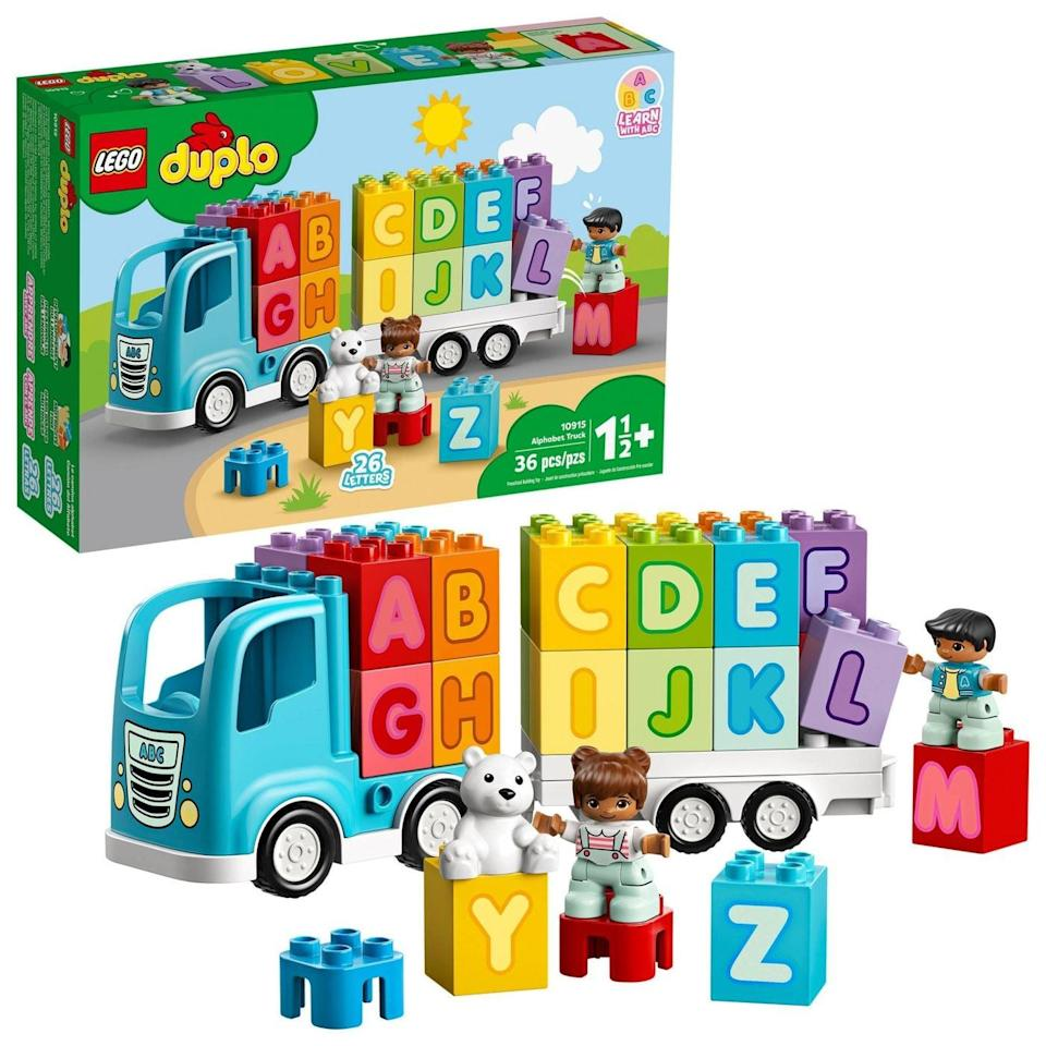 <p>The <span>Lego Duplo Alphabet Truck</span> ($25) has 36 pieces and is best suited for toddlers ages 18 months and up.</p>