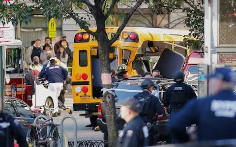 The school bus which was rammed in the attack - Credit: AP Photo/Bebeto Matthews